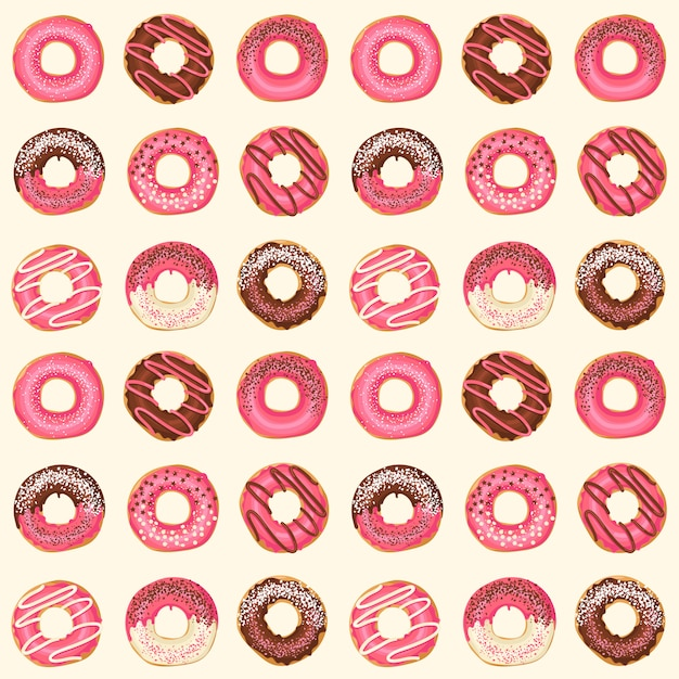 Seamless pattern with vector sweet pink glazed donuts with chocolate and powder. food design. Premium Vector