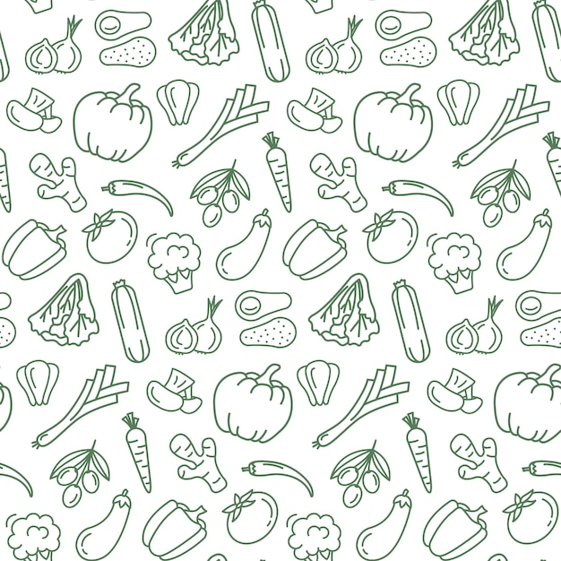 Seamless pattern with vegetarian food. Premium Vector