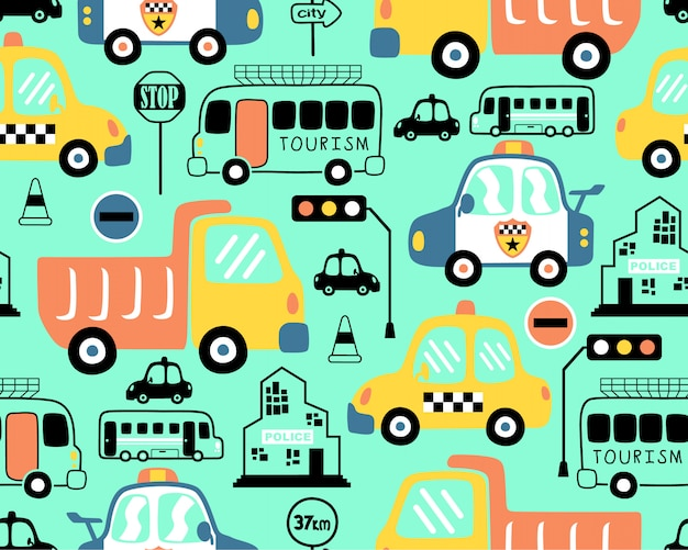 Seamless pattern with vehicles cartoon Premium Vector