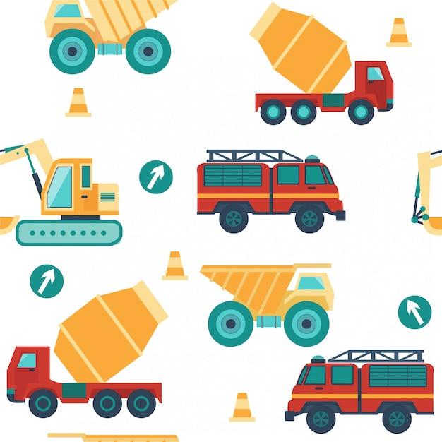 車、建設用トラック、道路標識とのシームレスなパターン。 Premiumベクター