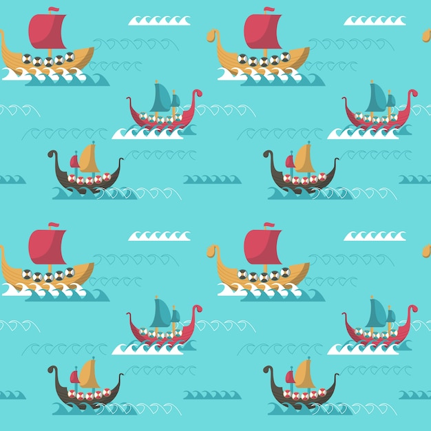 Seamless pattern with viking age longships Premium Vector