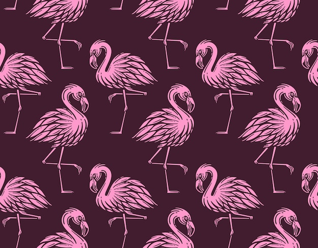 Бесшовные модели с винтажным фламинго Premium векторы