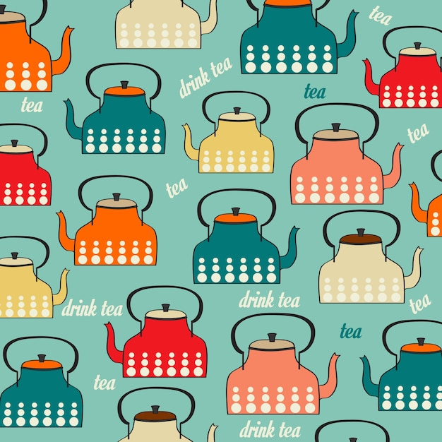 Seamless pattern with vintage kettles Free Vector