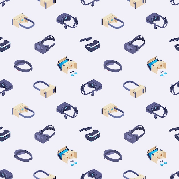 Seamless pattern with the virtual reality headsets Premium Vector