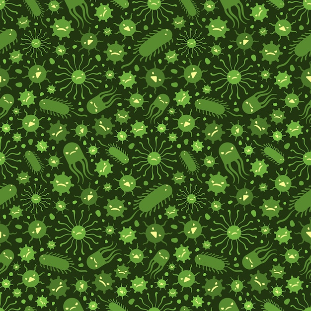 Seamless pattern with the viruses Premium Vector