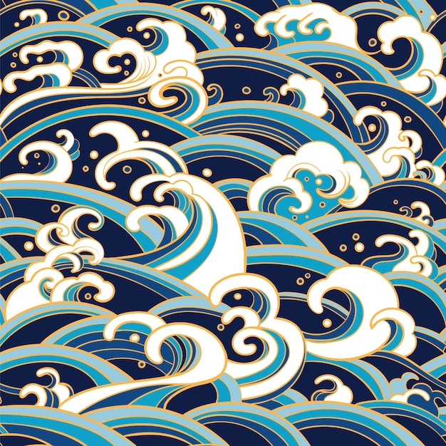水の波と水しぶきのシームレスパターン Premiumベクター