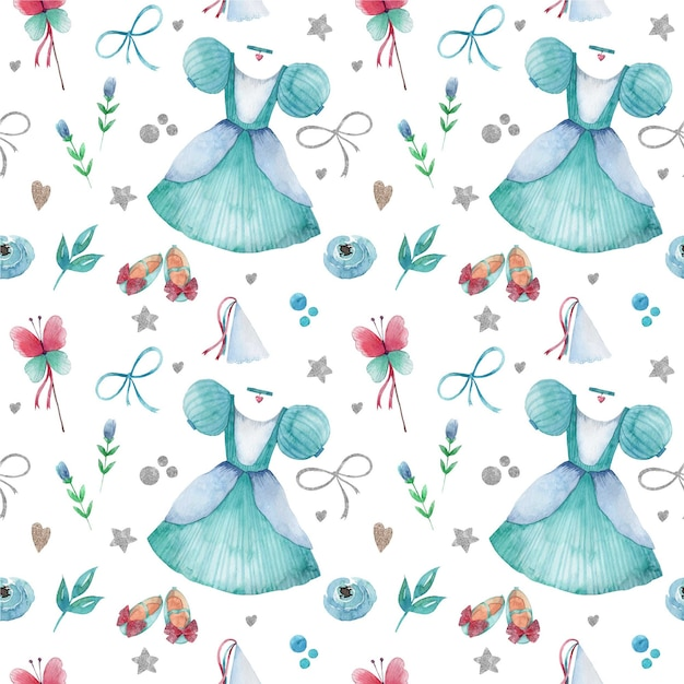 Seamless pattern with watercolor blue little princess elements Premium Vector