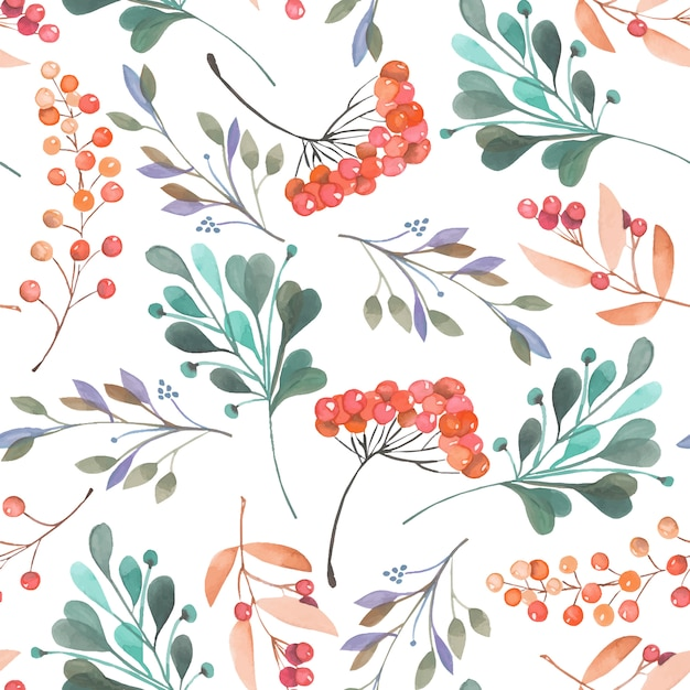 Seamless pattern with watercolor branches and berries Premium Vector