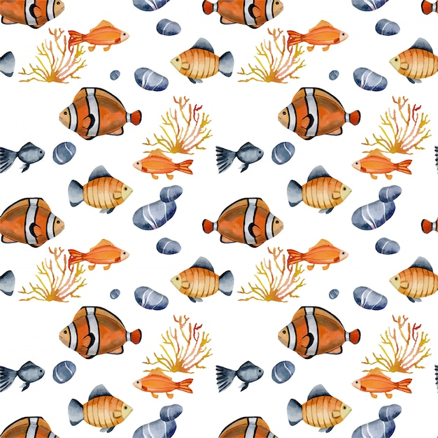 Seamless pattern with watercolor clown fishes Premium Vector