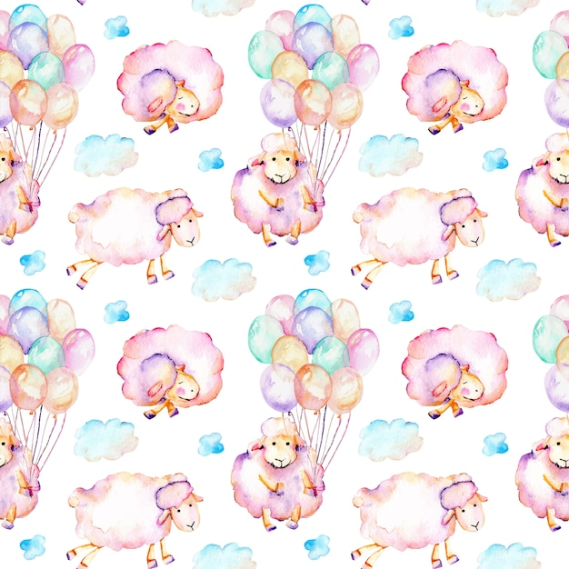 Seamless pattern with watercolor cute pink sheeps Premium Vector