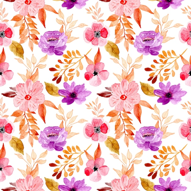 Seamless pattern with watercolor floral and golden leaves Premium Vector