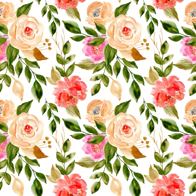 Seamless pattern with watercolor floral and leaves Premium Vector
