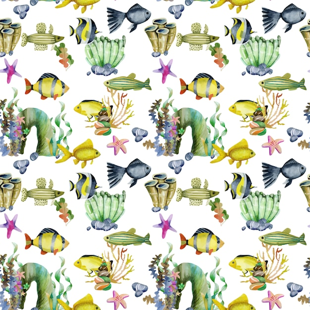 Seamless pattern with watercolor goldfishes and other fishes Premium Vector