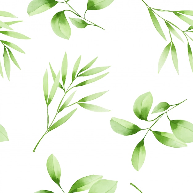 Seamless pattern with watercolor green branches Premium Vector