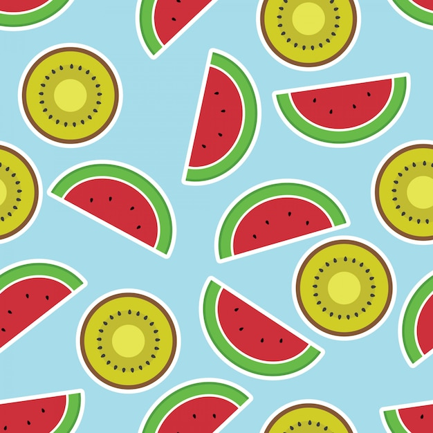 Seamless pattern with watercolor kiwi fruit and watermelon slices Premium Vector