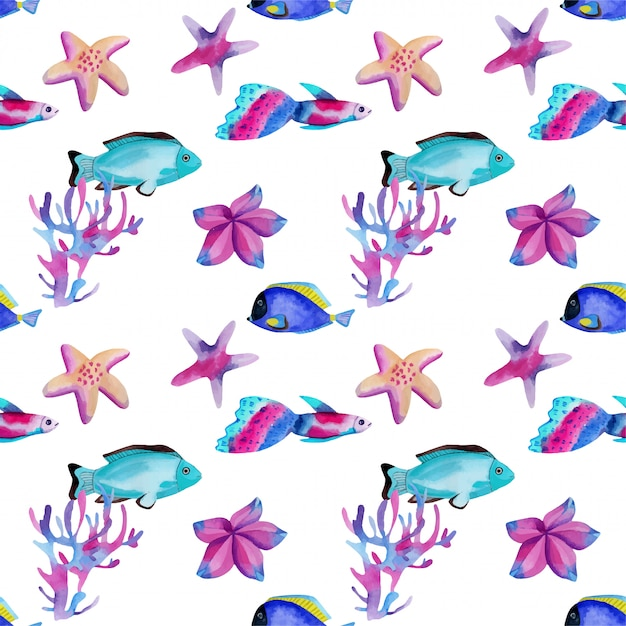 Seamless pattern with watercolor oceanic fishes and starfishes Premium Vector
