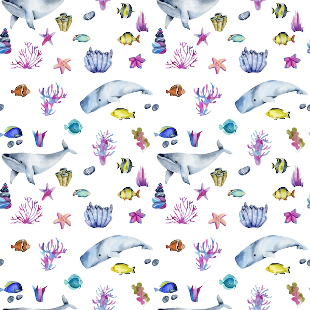 Seamless pattern with watercolor oceanic fishes and whales Premium Vector