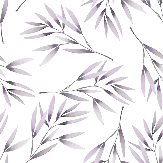 Seamless pattern with watercolor purple branches Premium Vector