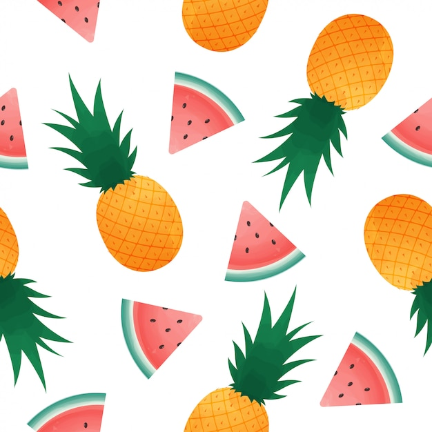 Seamless pattern with watermelon slices and pineapple. Premium Vector