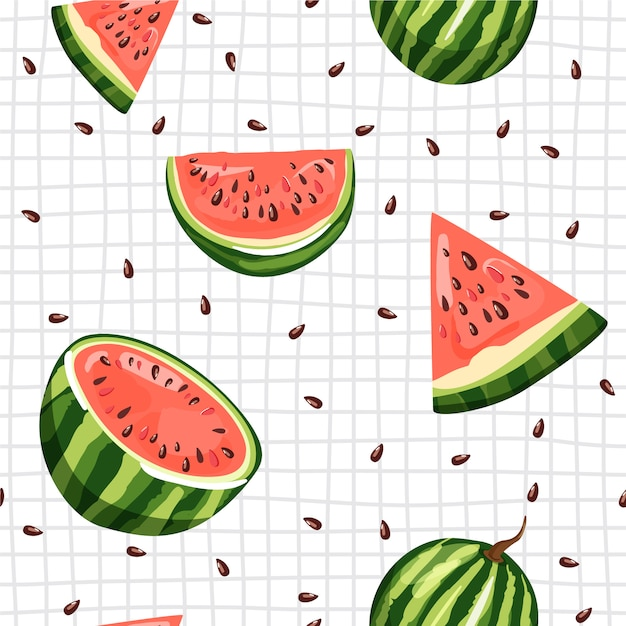 Seamless pattern with watermelon. summer vibes Premium Vector