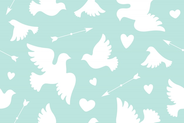 Seamless pattern with white love doves Premium Vector