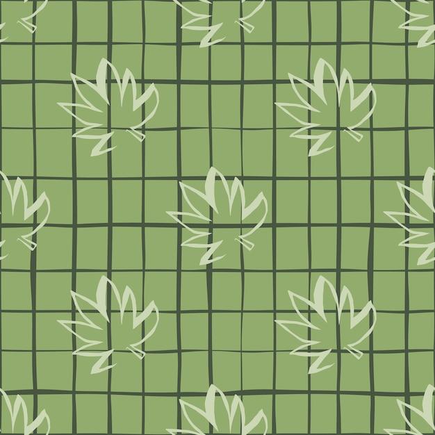 緑の市松模様の背景に白いアウトライン大麻葉のシームレスパターン Premiumベクター