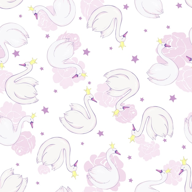 Seamless pattern with white swans Premium Vector