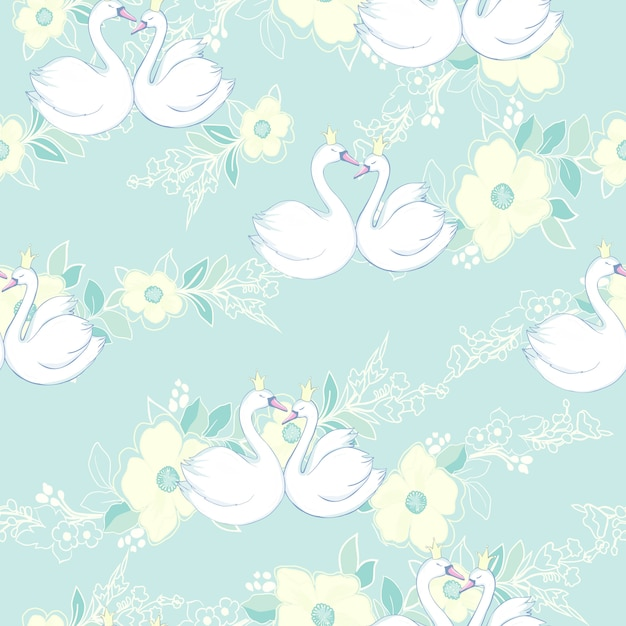 Seamless pattern with white swans. Premium Vector