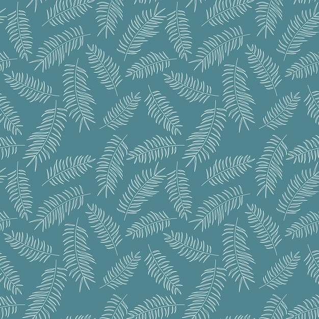 Seamless pattern with white tropical leaves on blue background Premium Vector