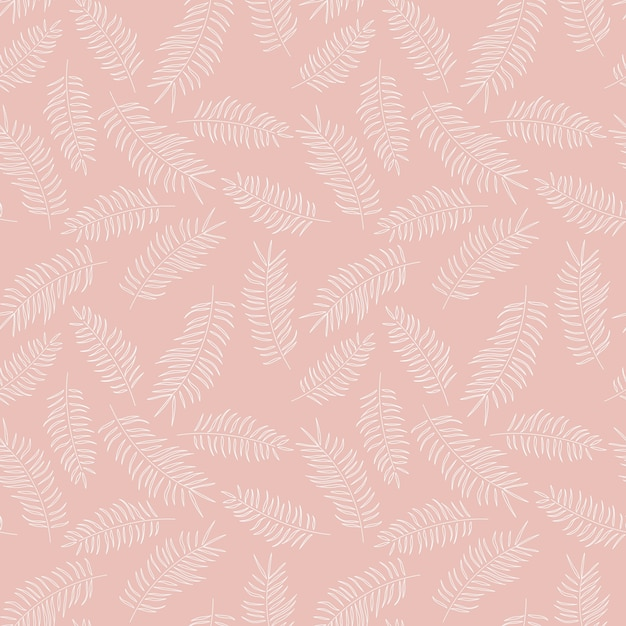 Seamless pattern with white tropical leaves on pink background Premium Vector