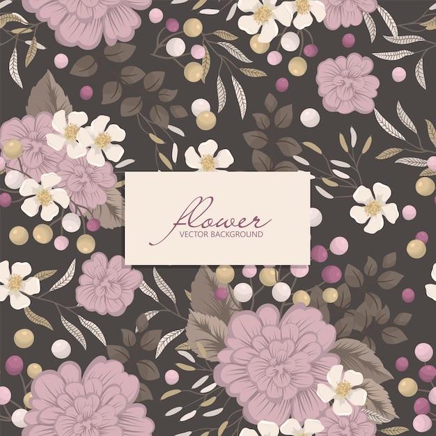 野生の花とのシームレスなパターン 無料ベクター