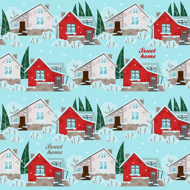 Seamless pattern with winter houses Premium Vector