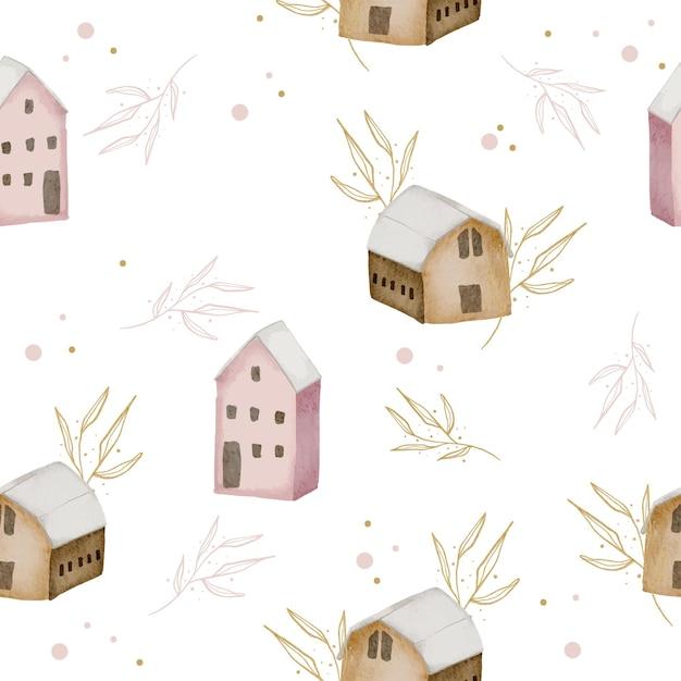 Modello senza cuciture con casa e foglie dell'acquerello di inverno Vettore gratuito
