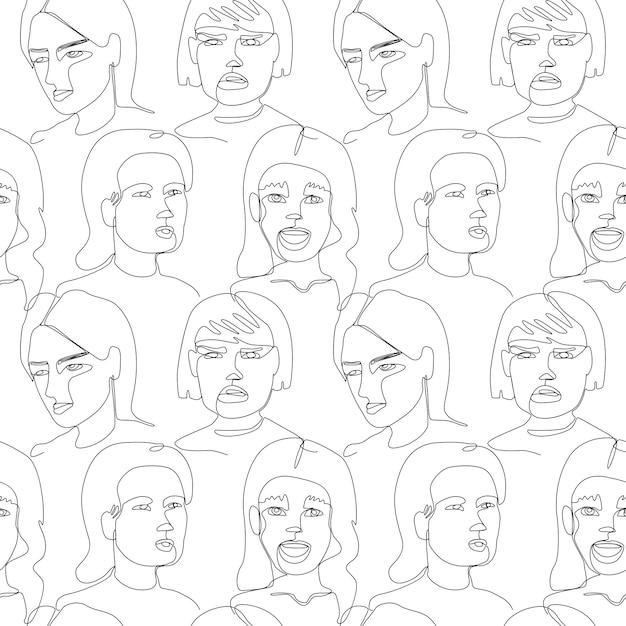 여자와 완벽 한 패턴 얼굴 한 라인 아트 초상화 프리미엄 벡터