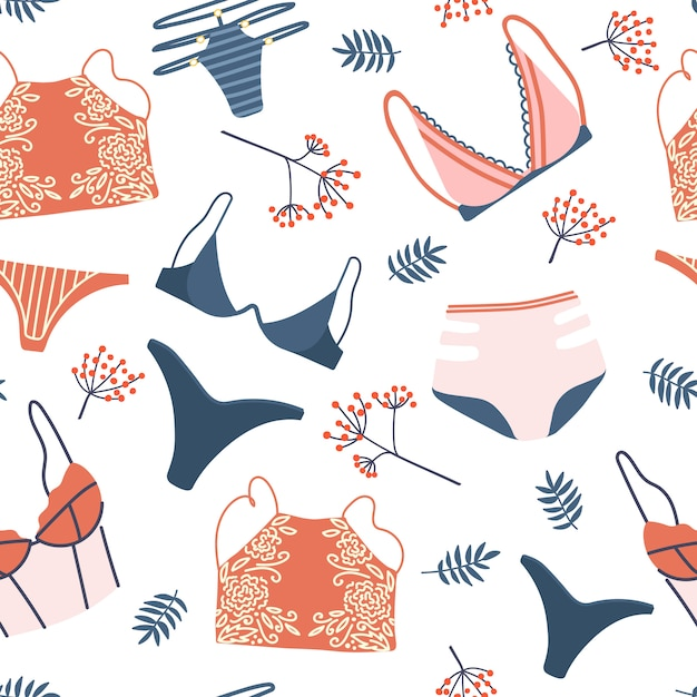 Seamless pattern with woman lingerie and underwear. background with stylish bras, panties and bikinis. hand drawn pattern for textile, t-shirt, wrapping paper. cute feminine undies set. Premium Vector