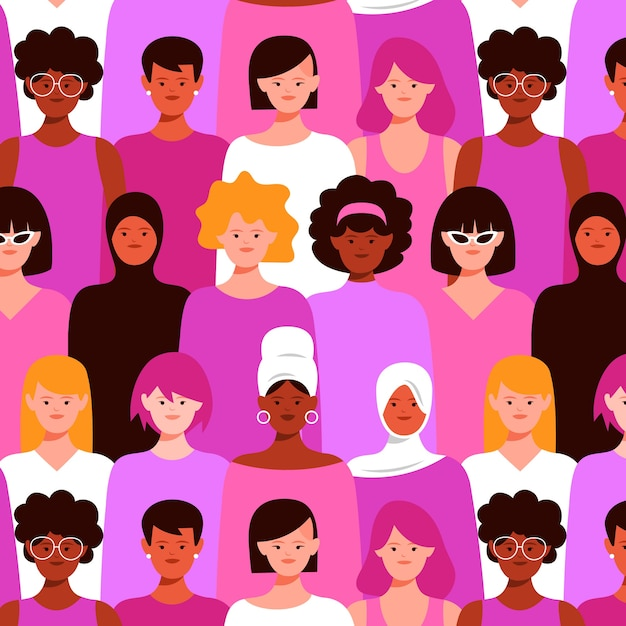 Modello senza soluzione di continuità con le donne in mezzo alla folla Vettore gratuito