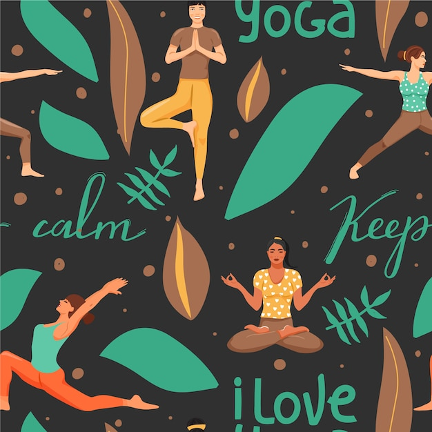 Seamless pattern with women in different yoga poses. Premium Vector