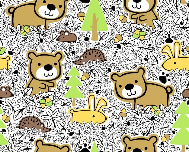 Seamless pattern with woods animals cartoon Premium Vector