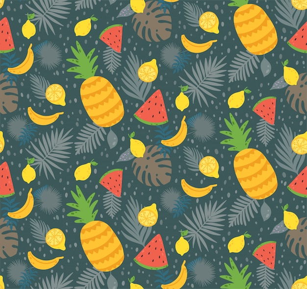 Seamless pattern with yellow lemon fruit Premium Vector