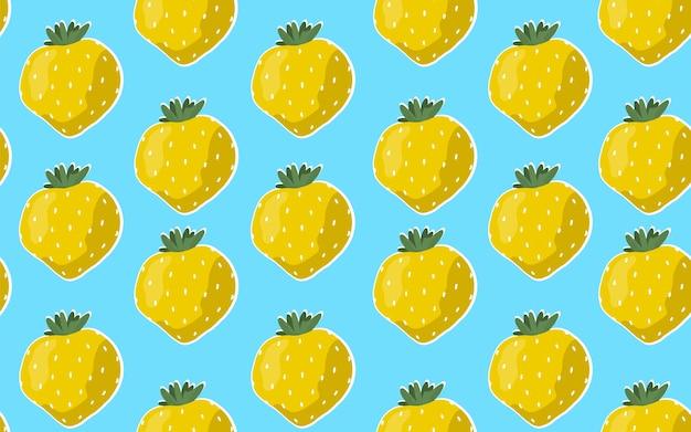 青色の背景に黄色のイチゴとのシームレスなパターン。 Premiumベクター