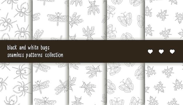 黒と白の昆虫のシームレスパターンコレクション。 Premiumベクター