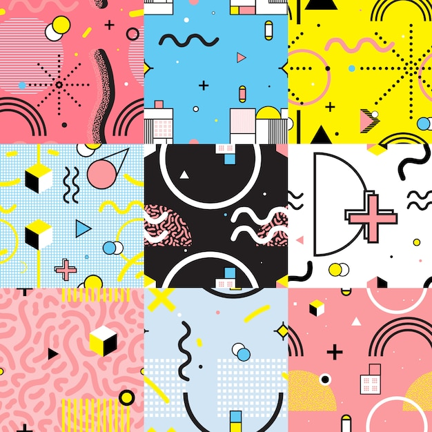 Seamless patterns set memphis style Free Vector