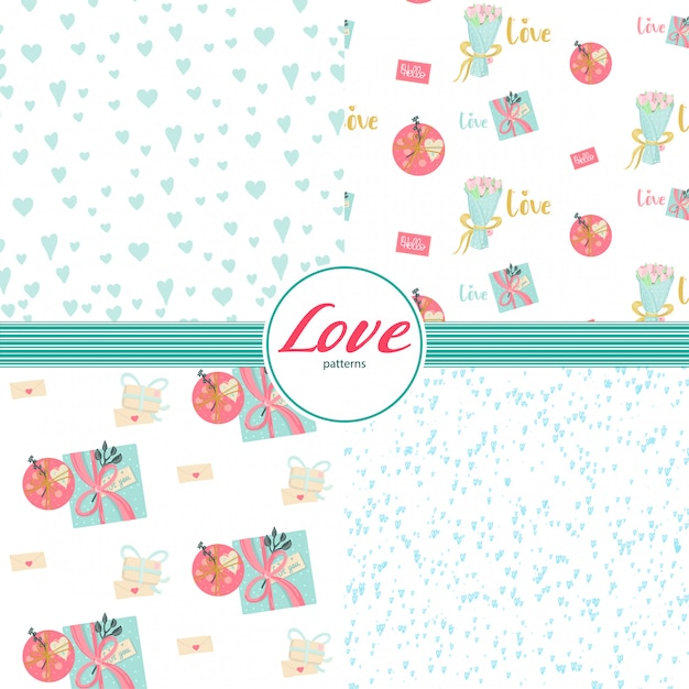 Seamless patterns set with love elements in pastel colors. Premium Vector