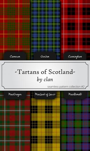 Seamless patterns of tartans by clan - cameron, gordon, cunningham, macgregor, macleod, ma Premium Vector