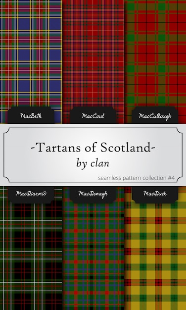Seamless patterns of tartans by clan Premium Vector