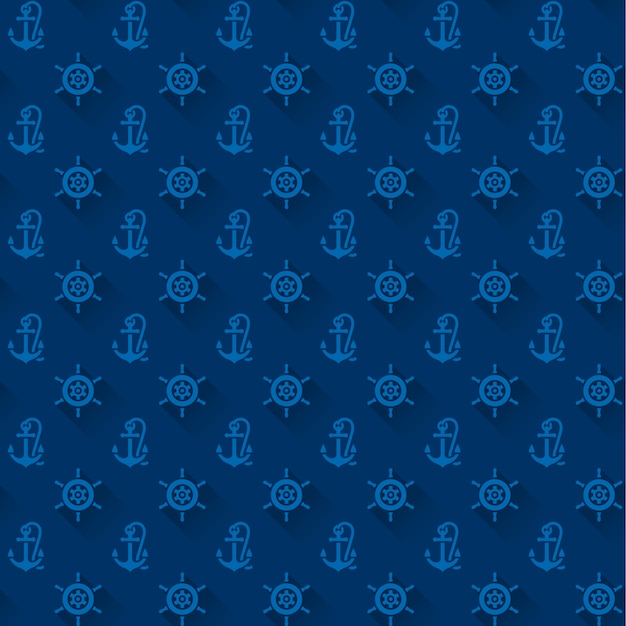 Seamless patterns with blue anchors Premium Vector