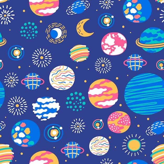 惑星や星とのシームレスなパターン Premiumベクター