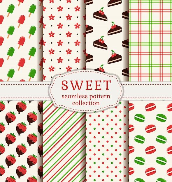 お菓子とのシームレスなパターン。ベクトルを設定します。 Premiumベクター