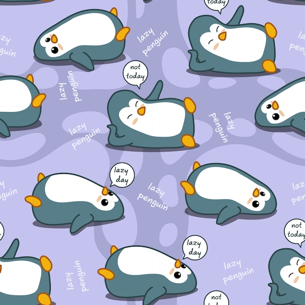 Seamless penguin is lazy pattern. Premium Vector