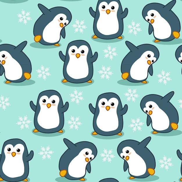 Seamless penguin pattern. Premium Vector